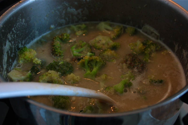 Add the broccoli heads to the soup and bring it briefly to a boil